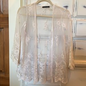 Sheer lace top with fringe sleeves